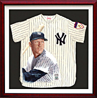Giclee print on Canvas of Mickey Mantle Baseball Jersey, Framed