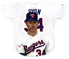 Hand-Painted Nolan Ryan Baseball Jersey