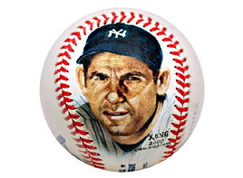 Hand-Painted Yogi Berra Baseball