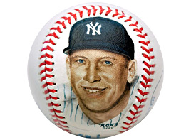 Hand-Painted Mickey Mantle Baseball